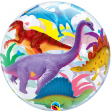 "Colourful Dinosaurs Bubble Balloon (22"") 1pc"